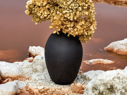 Opus Black Clay Vase